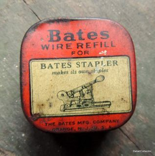 BATES STAPLER Wire Staples Tin Box Advertising Litho Office Industrial