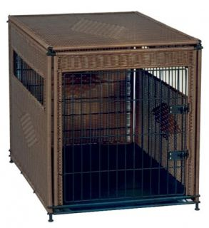 Mr Herzhers Wicker Indoor Dog House Extra Large Dark Brown