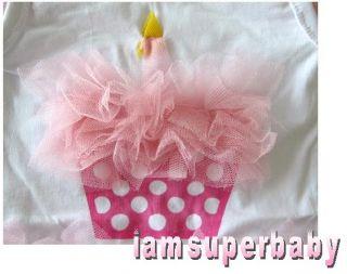Baby Girl Pink Cupcake Tutu Ruffle Vest Romper 3 15mos