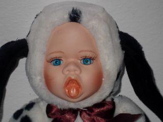 ANNE GEDDES (?) STYLE LITTLE DALMATION COSTUME BABY DOLL   BISQUE HEAD