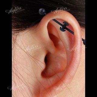 Steel Bat Long Industrial Barbell Stud Ear Ring Piercing