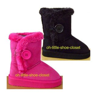 Black Fuchsia Pink Baby Toddler Infant Eskimo Furry Walking Boots Size