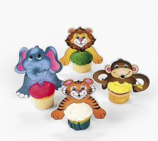 Safari Animal Cupcake Picks Cake Top Birthday Party Baby Shower