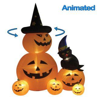 Halloween Inflatable Pumpkins Black Cat Yard Decoration Prop Gift