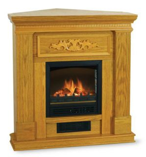 Electric Infrared Fireplace Heater Media Corner Oak Wood Color Mantel