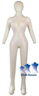 Inflatable Female Mannequin Full Size Head Arms Ivory