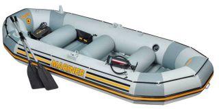 Intex Mariner 4 Inflatable Raft River Lake Dinghy Boat Set Motor Mount