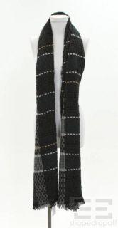 Inhabit Gray Beige Plaid Woven Cashmere Scarf Wrap