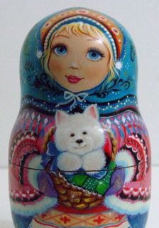 Exclusive Russian Nesting Doll by INNA KAMINSKAYA  WINTER CHILDREN