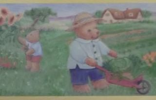 Border Bears Garden Grass Gardening Carrots Kids Room Cute Art