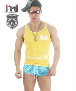 Dog Sexy Glossy Gym Muscles Mesh Tank Top Shirt Singlet Lemon L
