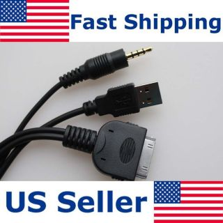 KENWOOD KCA iP22F iPOD iPHONE INTERFACE INPUT CABLE USB 3 5MM DDX318