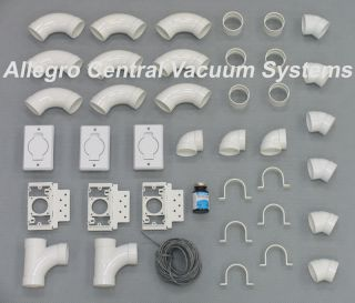 Central Vacuum 3 Inlet Installation Kit 80 Vac Pipe