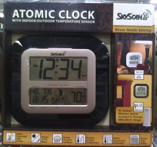 Sky Scan Atomic Clock with Indoor Outdoor Temperature Sensor