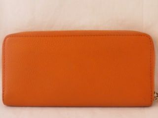 Michael Kors Jet Set Continental Zip Around Tangerine Leather Wallet $