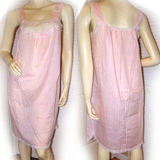 Womens Sleeveless Pink Intimate Sleepwear Night Dress White Lace Trim