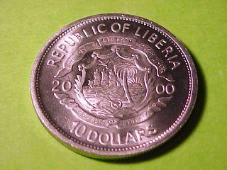 Liberia $10 C N Crown 2000 Gem BU John Kennedy Jr