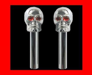 New Set of 2 Chrome Skull Hot Rod Rat Door Look Pull Knobs Set Pair