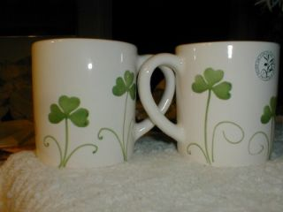 IRISH Celtic SHAMROCK Mugs S/2 ST PATRICKS DAY~Hand Painted~Made in