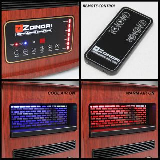 color red wood feature portable heater cooler with plasma ion air