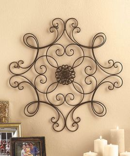 Metal Wall Art Medallion Wrought Iron Home Decor Accent Scroll