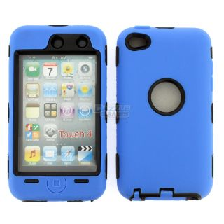BLUE 3PIECE HARD CASE COVER SKIN FOR IPOD TOUCH 4 4G 4TH GEN+PROTECTOR