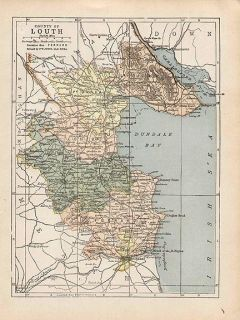 County Louth Ireland Authentic Antique Map Genuine 112 Years Old Made