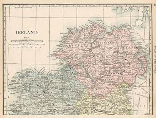 Ulster Northern Ireland Authentic Antique Map Genuine 127 Years Old
