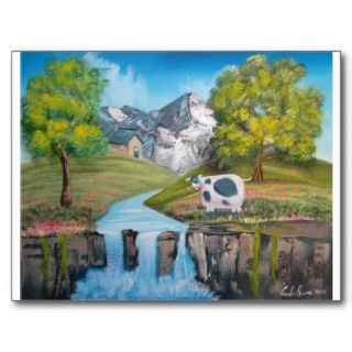 Cow waterfall folk art oil painting by G Bruce Post Cards