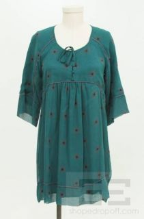 Iro Teal Grey Silk 3 4 Length Sleeve Tunic Dress Size 1