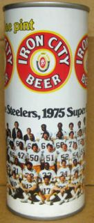IRON CITY BEER ss 16oz CAN 1975 PITTSBURGH STEELERS Football