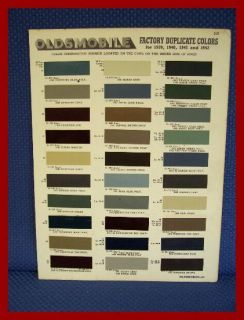 1939 1940 1941 1942 Oldsmobile Automobile Paint Chip Colors