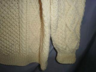 Vtg Irish Fisherman Wool Sweater Barnas Mor Aran Handknit Donegal