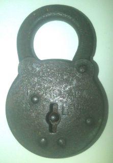 Antique Vintage Old Ironclad Six Lever Padlock Lock No Key