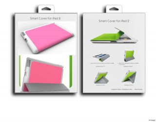 ipad 2 New Design PINK magnetic smart cover leather wake sleep w/ hard