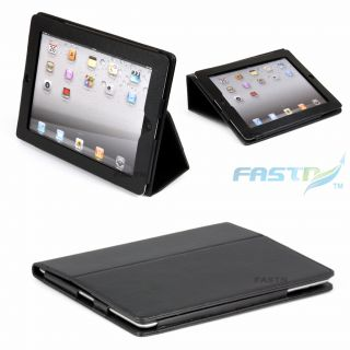 iPad 2 Luxury Leather Cover Case Stand with Pocket