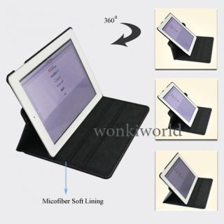 iPad 2 Smart Cover Leather Stand Case with 360° Rotating Swivel