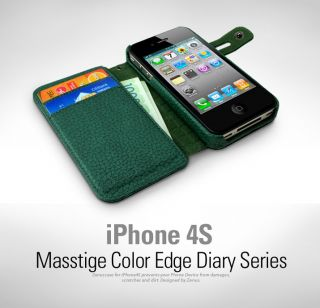 ZENUS Color Edge iPhone 4 4S Wallet Leather Case Cover