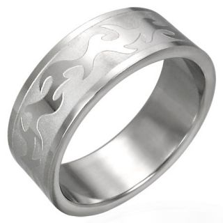 IRISH CELTIC SILVER C STEEL RING FINGER THUMB US SZ 12 AU Y MENS