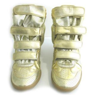 Isabel Marant Sold Out Bird Gold Dore Wedge Sneakers Trainers NWB
