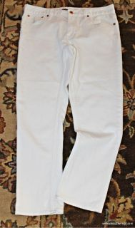 White Polo Pony Ralph Lauren Denim Crop Slim Skinny Jeans 28