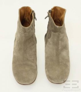 Isabel Marant Taupe Suede Ankle Heel Boots Size 39