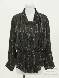 Isabel Marant Brown Black Feather Print Blouse Size 2
