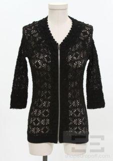 Isabel Marant Black Cotton Stretch Lace Zip Front Top Size 2