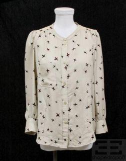 Isabel Marant Beige Bird Print Silk Blouse Size 2