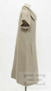 Isabel Toledo Beige Linen Short Sleeve Snap Button Dress Size 8