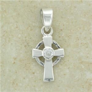 Irish Small Silver Celtic Cross Pendant with Small CZ Clear Stone 16