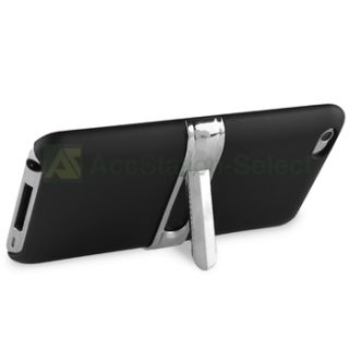 For iPod Touch 4 4th G Gen Black w Chrome Stand Hard Case Cover Skin