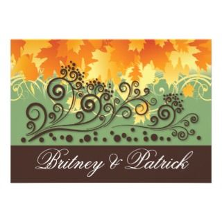 Autumn Purple Falling Leaves Wedding Invitations