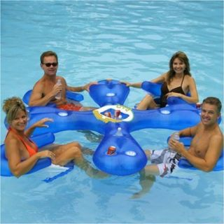 Inflatable Floating Swimming Pool Lake Island Bar w with Ice Drink